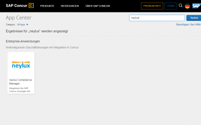 neylux Compliance Manager im SAP Concur App Center